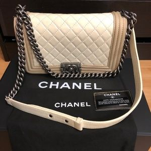 Chanel old medium le boy two tone